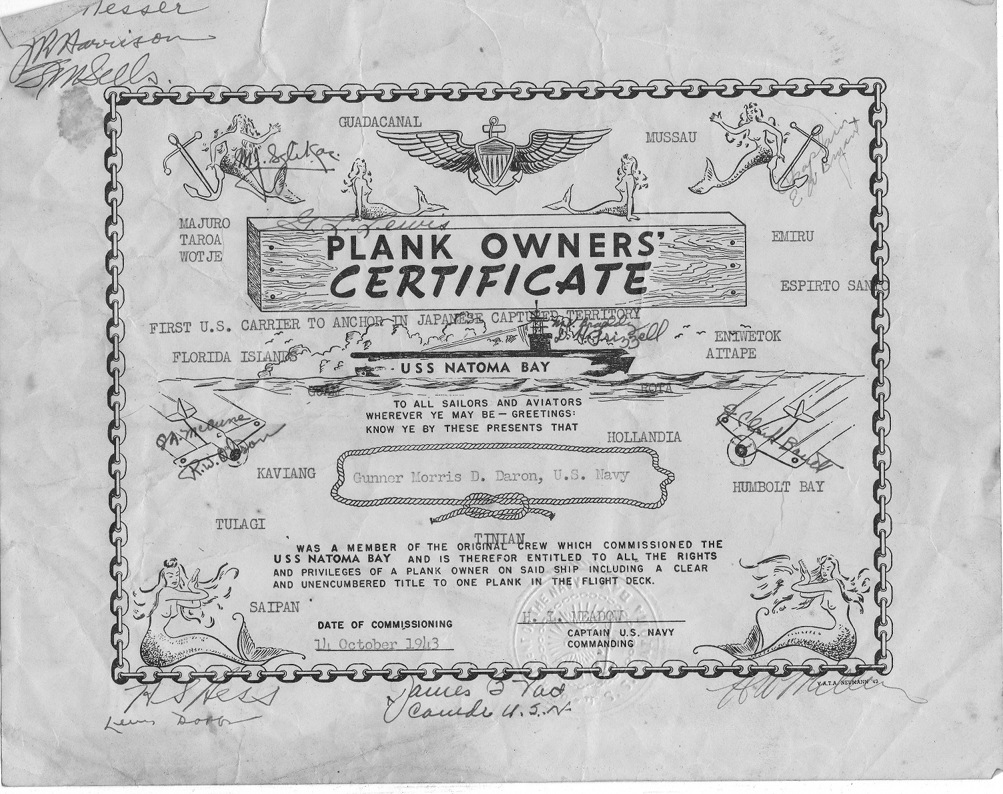 Plankowner's Certificate