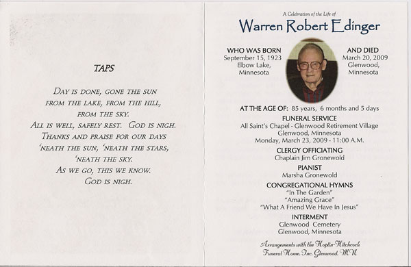 Warren Robert Edinger Memorial Pages 2-3